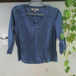 FLAX Blue Linen Top